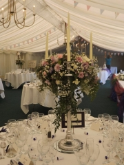 pink & lilac wild candelabra Pink & white roses candelabra Grafton Manor