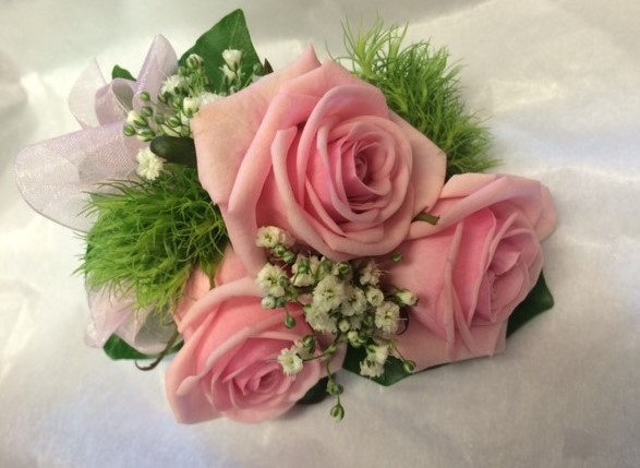 baby pink corsage pink bow