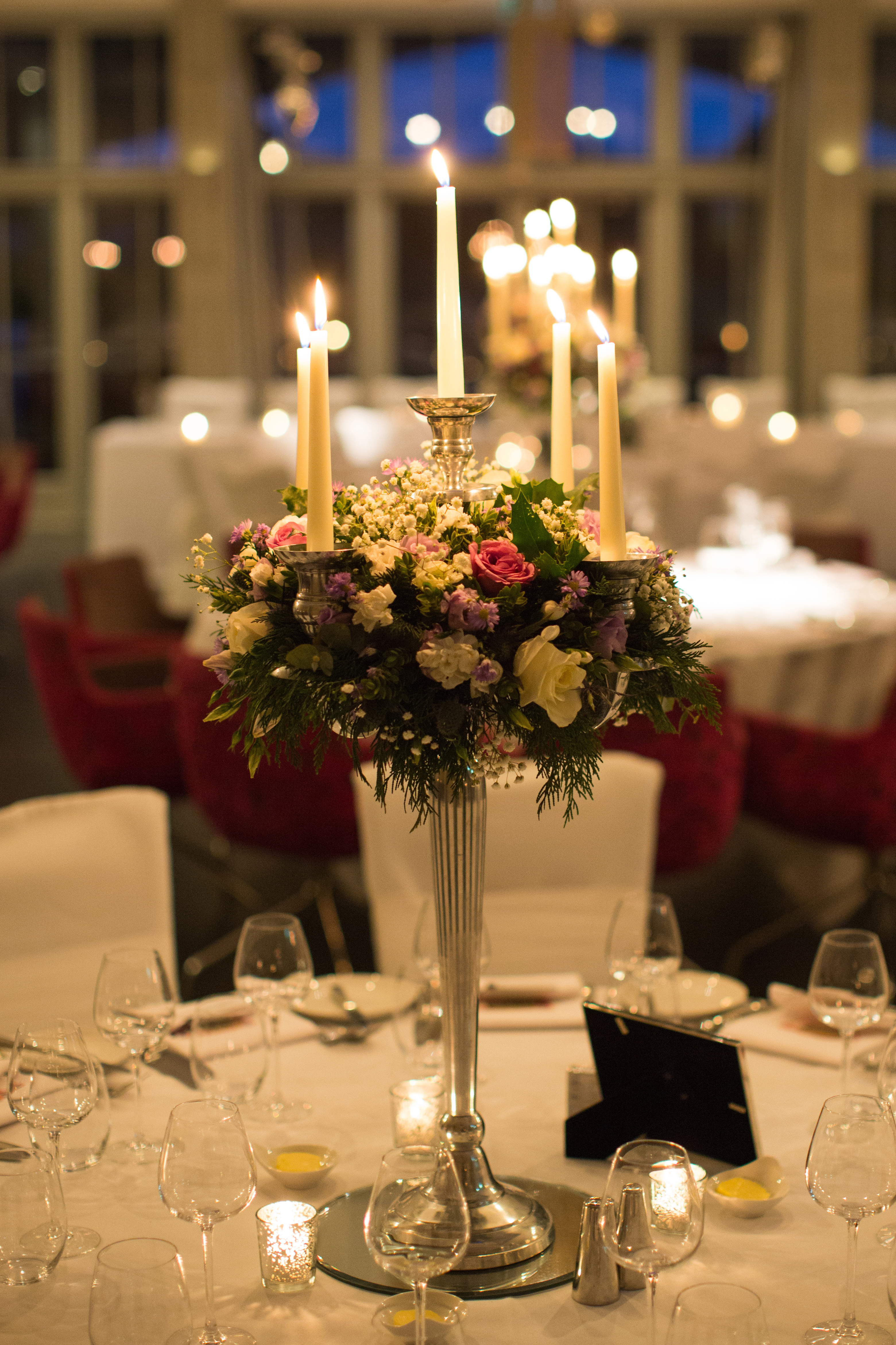 Candelabras reception flowers at Hampton Manor