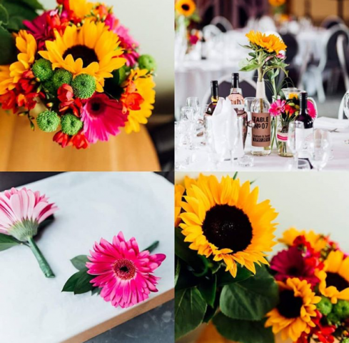 Bright themed wedding cerise pink yellows  greens