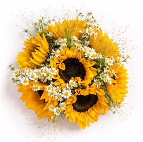 sunflowers with daisies hand tied redditch florist flair