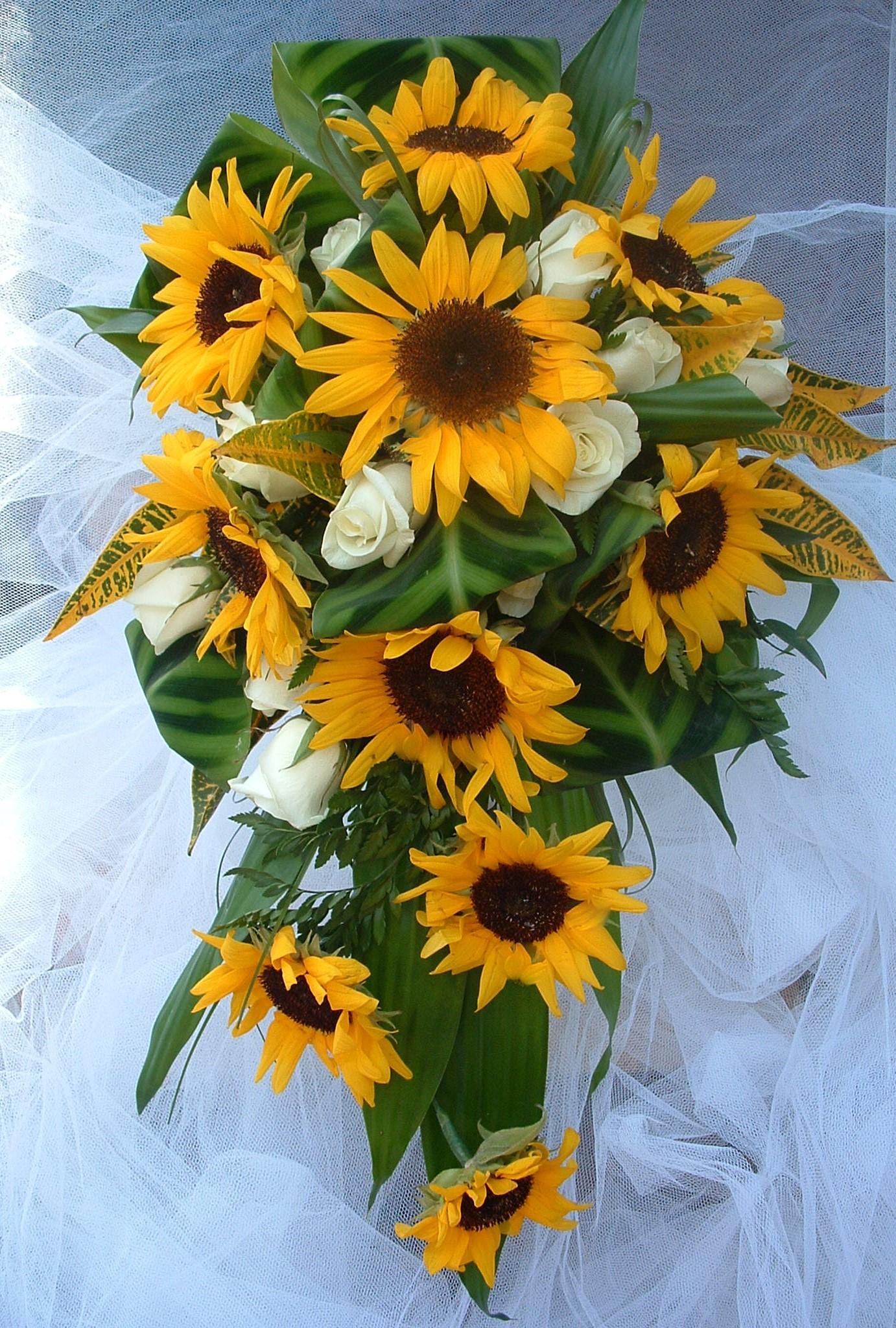 sunflowers & roses shower bouquet something different