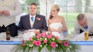 top table arrangement pink gerbera