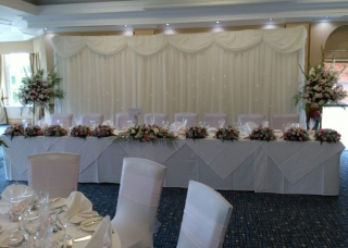Top table pinks top table with flowers transferred from church Ardencote manor
