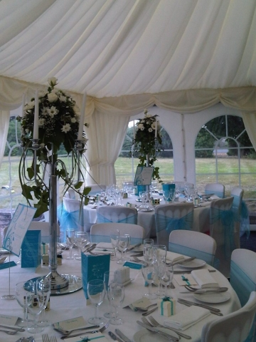 White candelabra table centres Salford Hall