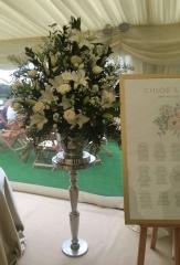 White pedestal flowers