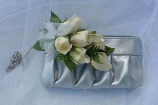 silver hand bag spray