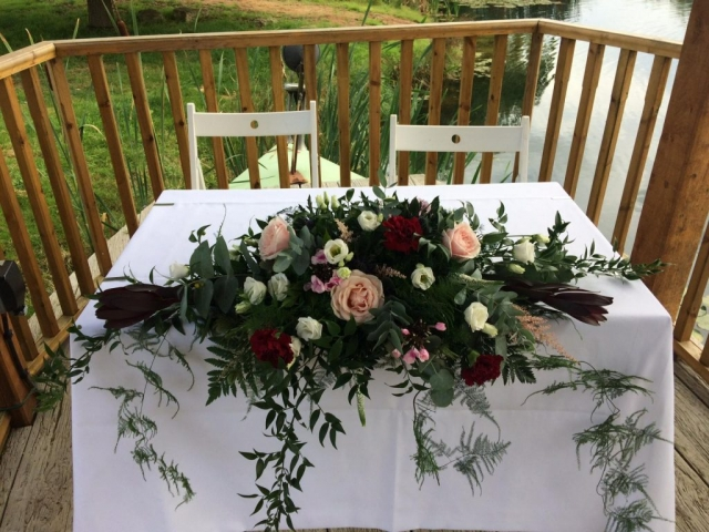 wootton park burgundy pink civil arrangement Swags on arch rustic look aisle outside weddings Wootton  Park