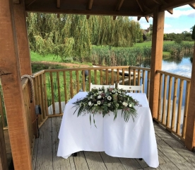 wootton park chocolate rose white flower civil rustic look aisle outside weddings