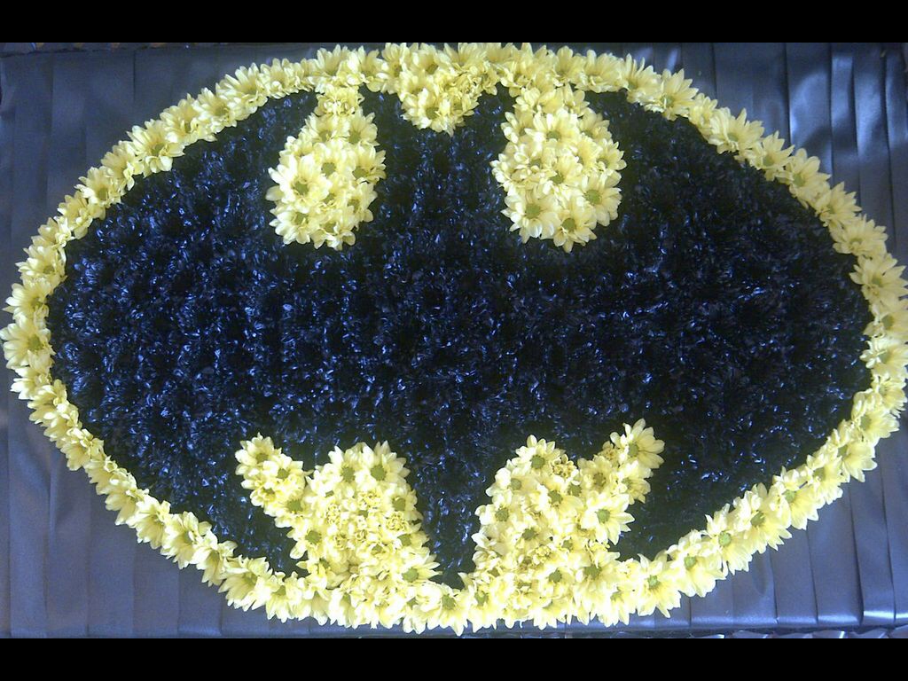batman funeral flowers bespoke design