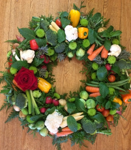 vegetable garden wreath funeral tribute