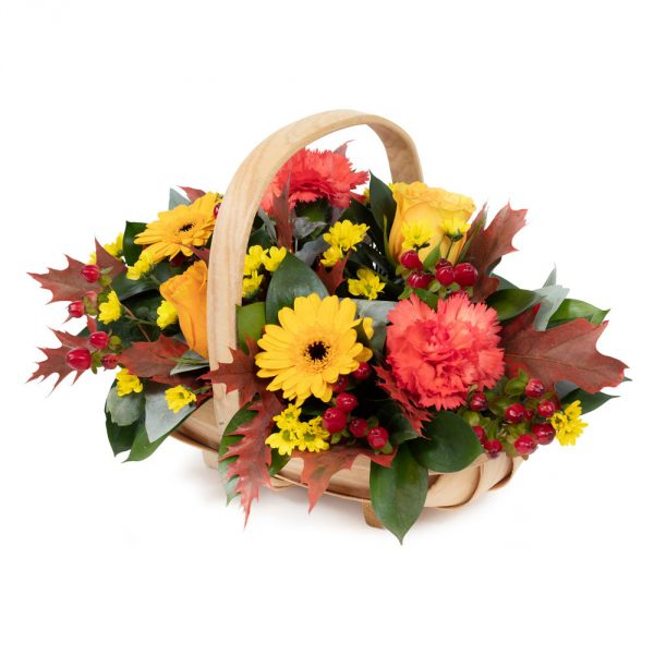 autumn shades basket arrangement