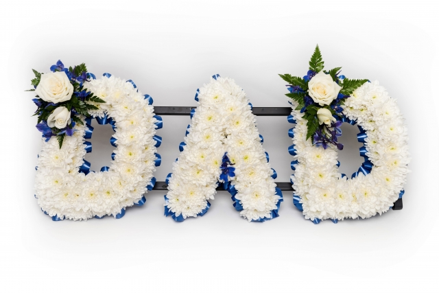 bespoke any letters, in words, funeral flowers, florist local delivery studley redditch alcester