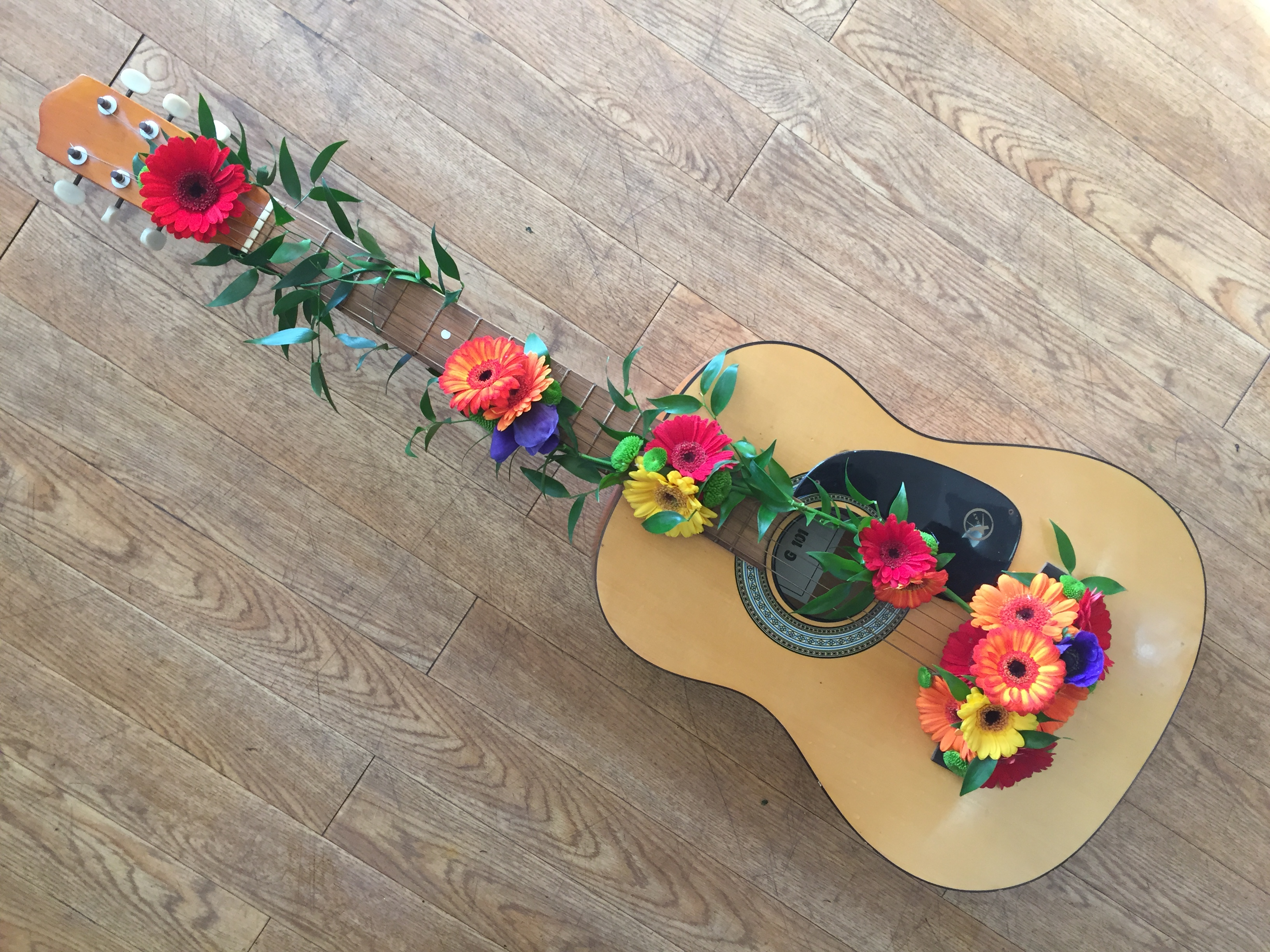 Personal Guitar as a Bespoke Funeral Tribute  FLORIST IN STUDLEY REDDITCH ALCESTER FUNERAL FLOWERS