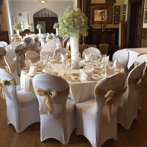 Chair cover with hessian sash