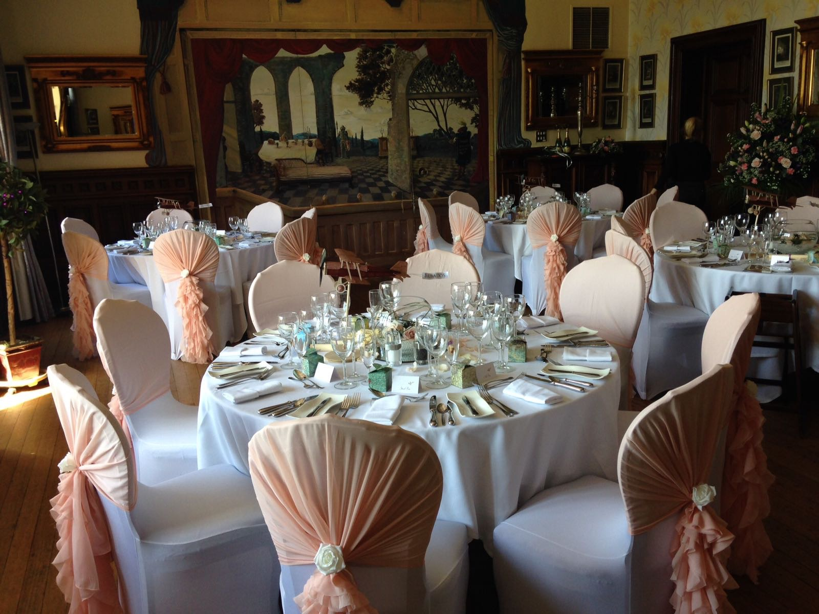 Chair covers with hoods and silk ivory rose detail