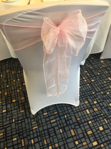 Blush pink sash with chair cover