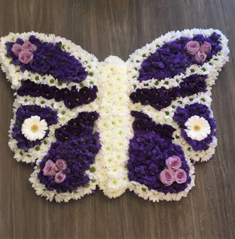 bespoke butterfly for a funeral tributes in fresh flowers