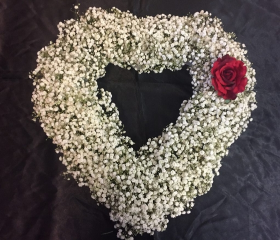 Gypsophila open heart funeral tribute