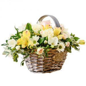 traditional basket arrangement of flowers