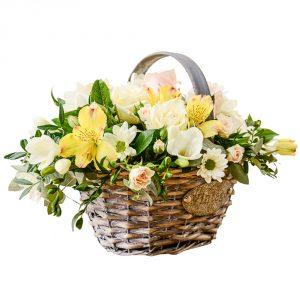 traditional basket arrangement of flowers