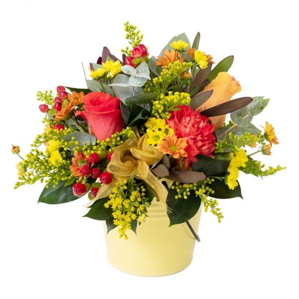 autumn pot of flowers