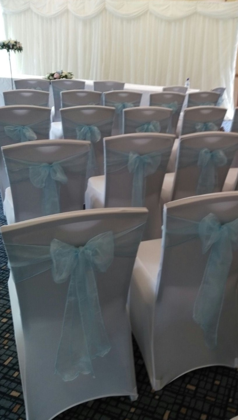 ice blue chair bows in civil reception