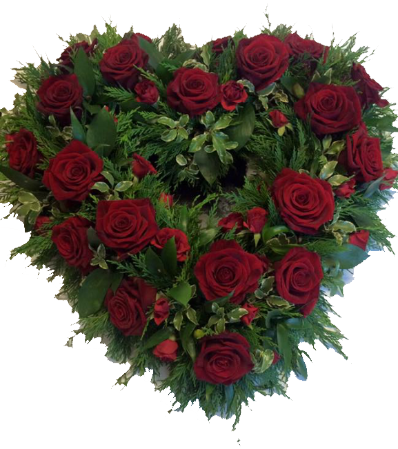beuatiful heart in red roses for a special funeral item and fresh flower funeral tribute delivery studley redditch and alcester