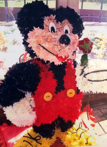 bespoke 3d micky mouse  funeral tribute fresh flowers unusual design DISNEY MICKY MOUSE