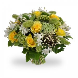 lemon and lime tonic hand tied bouquet in zeta colours