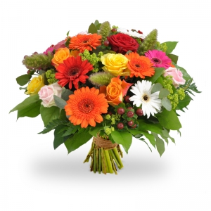 gerbera spirit bright and ond flowers in a hand tied design