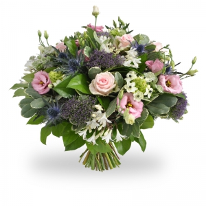 country garden style flowers in a hand tied design