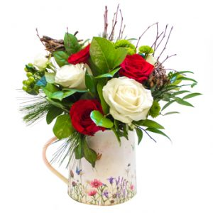 Jug hand tied arrangement