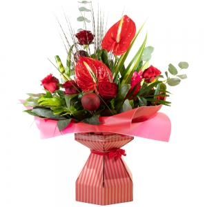 Christmas sparkler red rose & Anthuriums