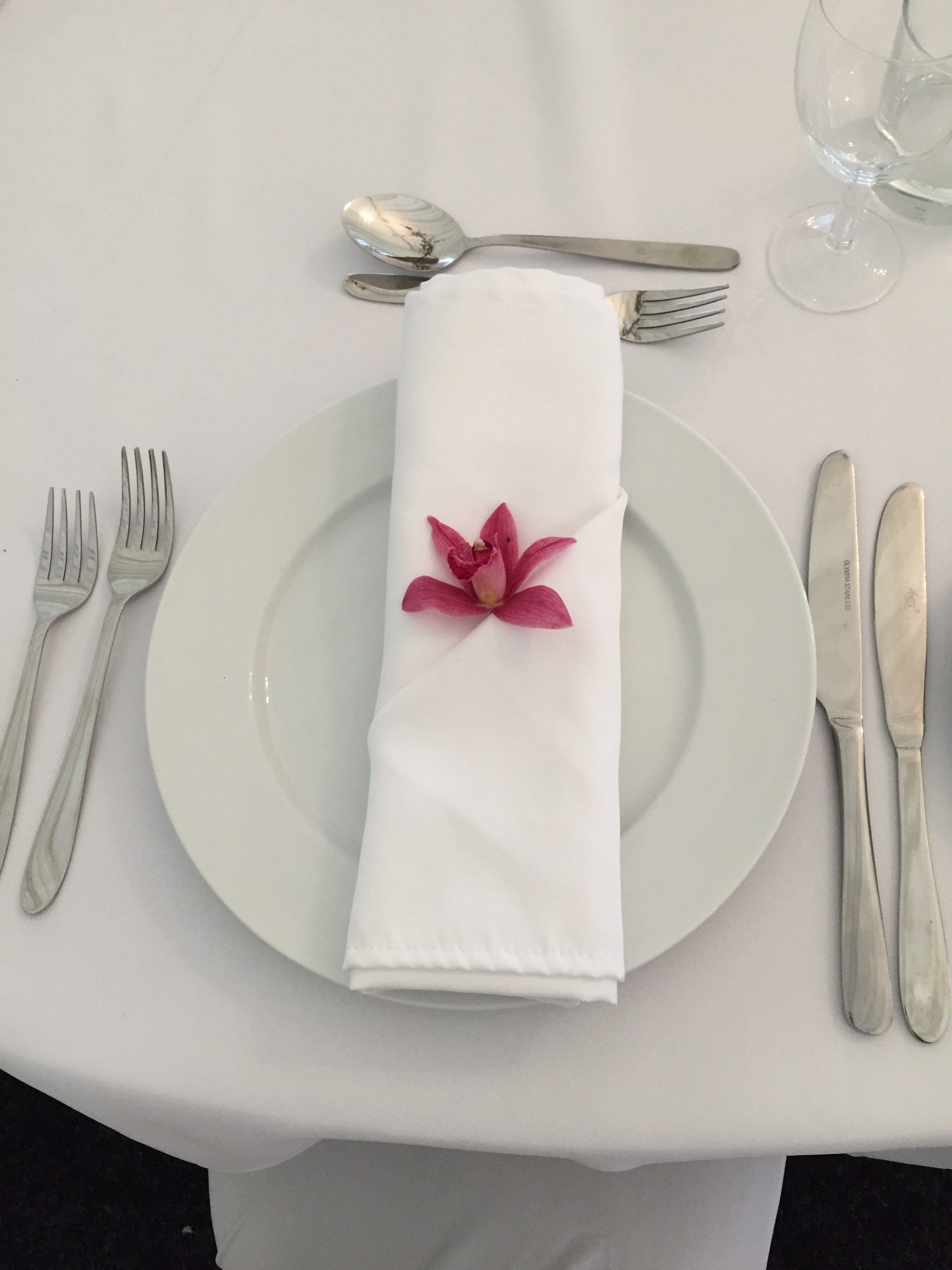 Orchid flower place setting